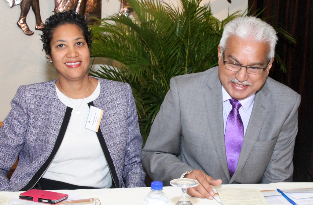 Mrs Jessie Schutt-Aine, Subregional Programme Coordinator, PAHO, The Hon. Terrence Deyalsingh, Minister of Health, Trinidad and Tobago